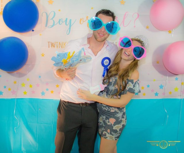 Me and Mr. Single at our gender reveal party.