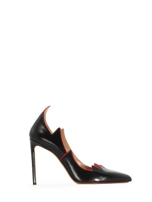 Black Leather Flame Pump