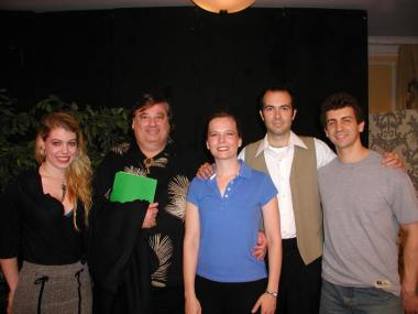 Leandra Ramm picture, wearing black shirt and skirt with fellow Brooklyn performers