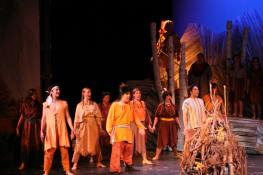 Leandra Ramm picture, wearing a brown Indian costume in a play Take Two