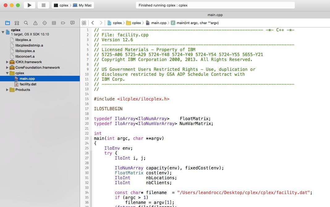 How to: Configure IBM CPLEX with Apple Xcode - Prof  Leandro C