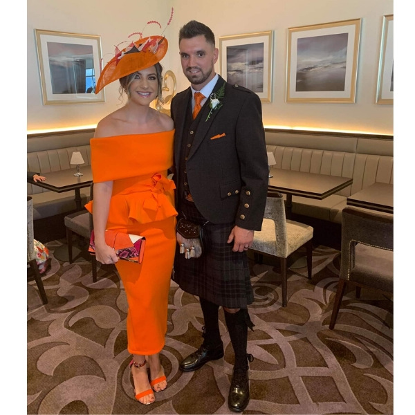 Bespoke designed Orange sinamay wedding guest hat with raspeberry, black and ivory trimmings Wedding Guest, Mother of the bride