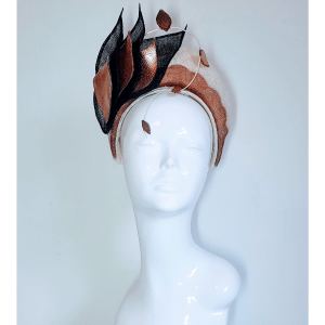 Halo Crown Headpiece in Copper, Black and Ivory