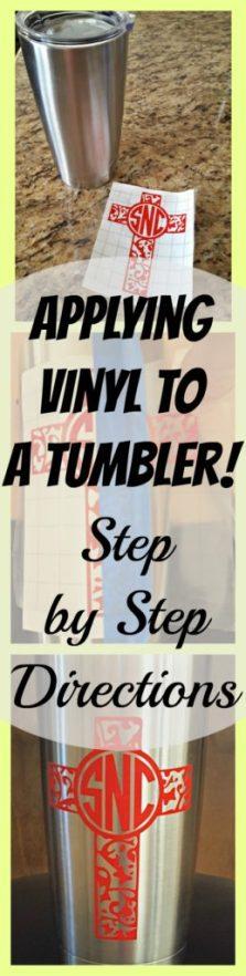applying vinyl to a tumbler