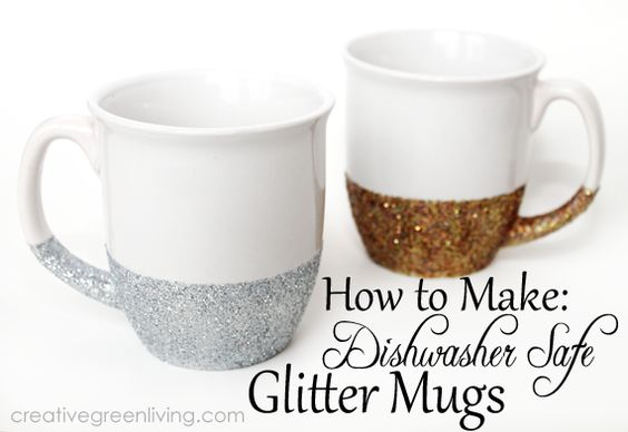 diy glitter christmas mug