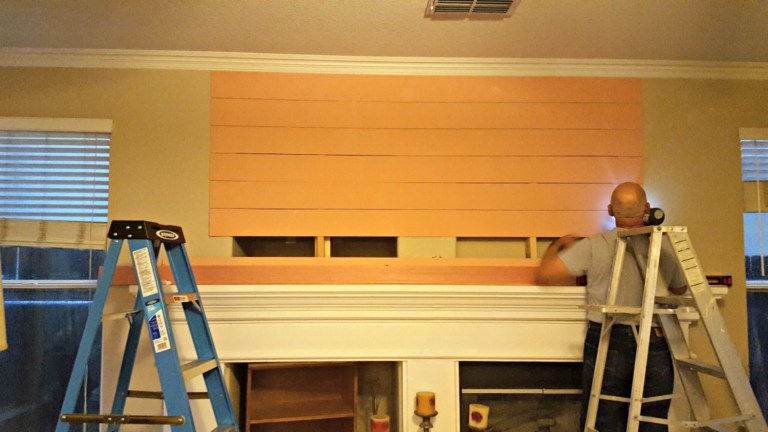 DIY shiplap fireplace makeover