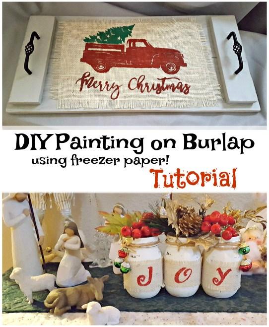 diy painting on burlap with freezer paper tutorial