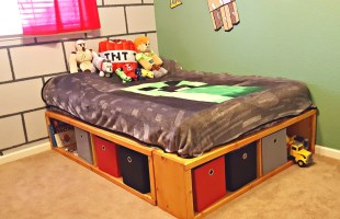 DIY Full Bed Frame with Storage