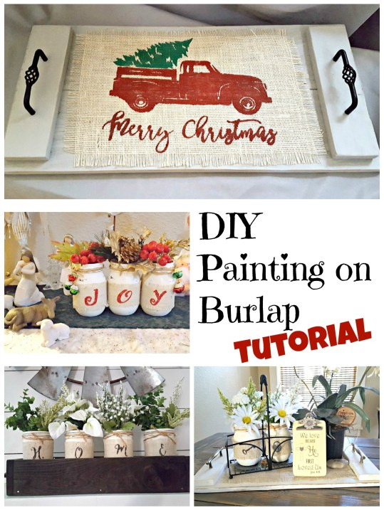 DIY painting on burlap with freezer paper stencil