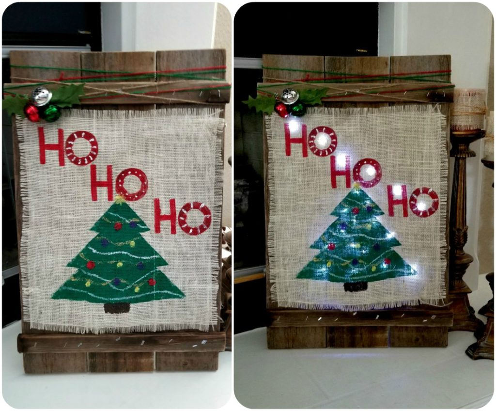 Diy christmas wood burlap sign leap of faith crafting