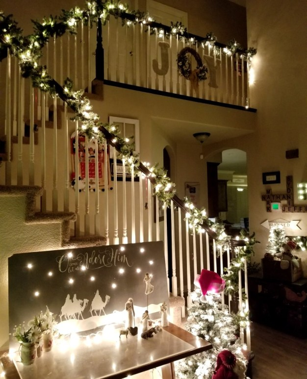 Joy sign staircase decor