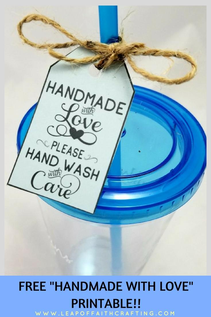 handmade with love tags pin