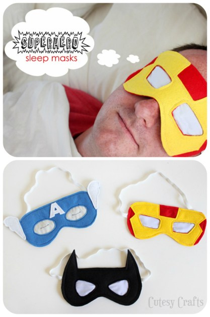 superhero sleep masks collage