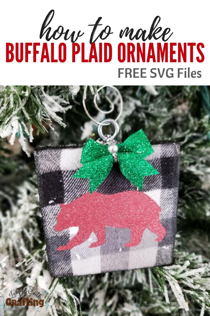 diy buffalo plaid ornament pin