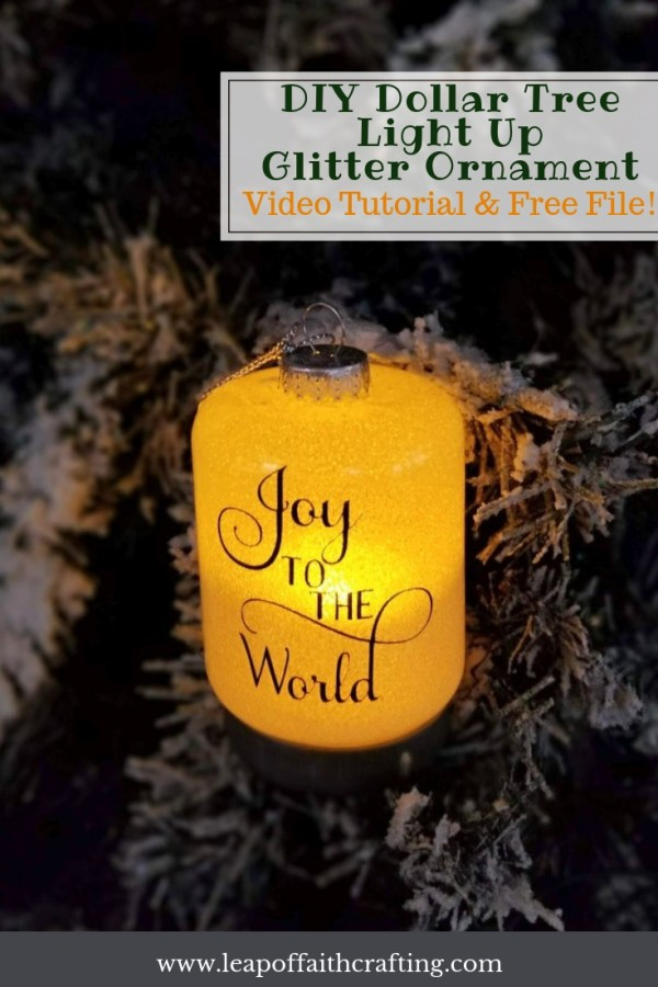 How to Make DIY Glitter Ornaments that Light up! Use Dollar Tree ornaments, glitter, and some vinyl to add elegance and warmth to your Christmas tree. #diyornaments #cricut #christmasdecor #glitter