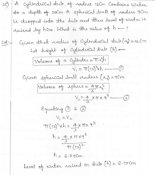 RD Sharma Class 10 Solutions Surface areas and Volumes Ex 16.1 Q25