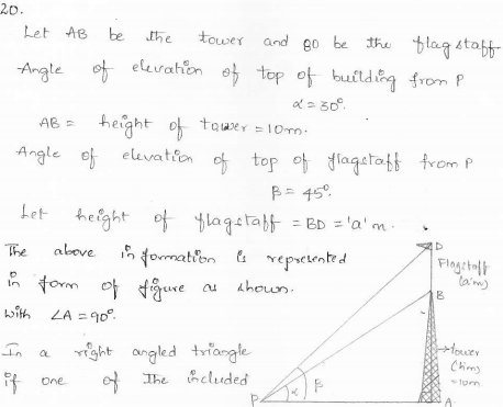 RD-Sharma-class 10-maths-Solutions-chapter 12 - Applications of Trigonometry -Exercise 12.1 -Question-20