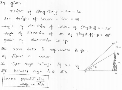 RD-Sharma-class 10-maths-Solutions-chapter 12 - Applications of Trigonometry -Exercise 12.1 -Question-34