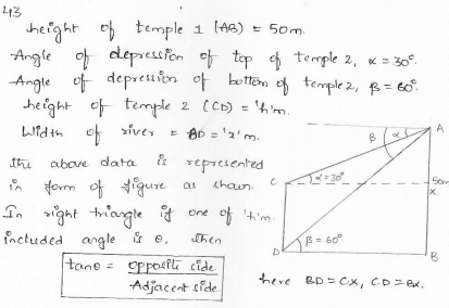 RD-Sharma-class 10-maths-Solutions-chapter 12 - Applications of Trigonometry -Exercise 12.1 -Question-43