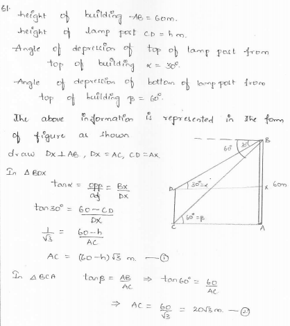 RD-Sharma-class 10-maths-Solutions-chapter 12 - Applications of Trigonometry -Exercise 12.1 -Question-61