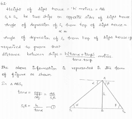 RD-Sharma-class 10-maths-Solutions-chapter 12 - Applications of Trigonometry -Exercise 12.1 -Question-62