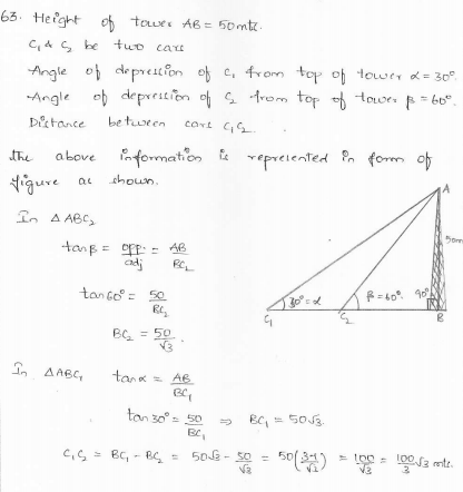 RD-Sharma-class 10-maths-Solutions-chapter 12 - Applications of Trigonometry -Exercise 12.1 -Question-63