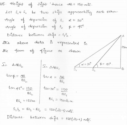RD-Sharma-class 10-maths-Solutions-chapter 12 - Applications of Trigonometry -Exercise 12.1 -Question-65
