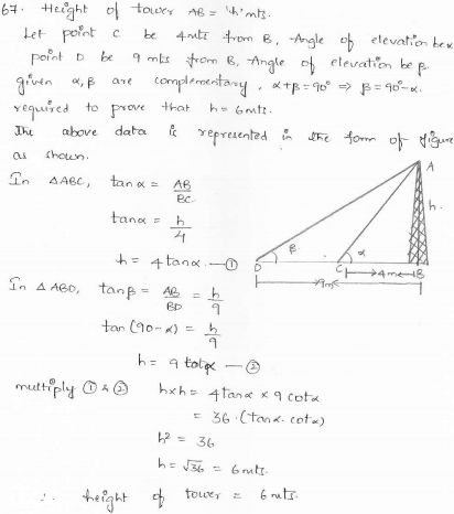 RD-Sharma-class 10-maths-Solutions-chapter 12 - Applications of Trigonometry -Exercise 12.1 -Question-67