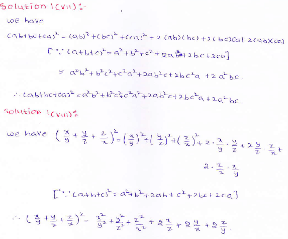 RD Sharma class 9 maths Solutions chapter 4 Algebraic Identities Exercise 4.2 Question 1 (vii) (viii)