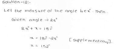 RD Sharma Class 7 Solutions 14.Lines and angles Ex-14.1 Q 12