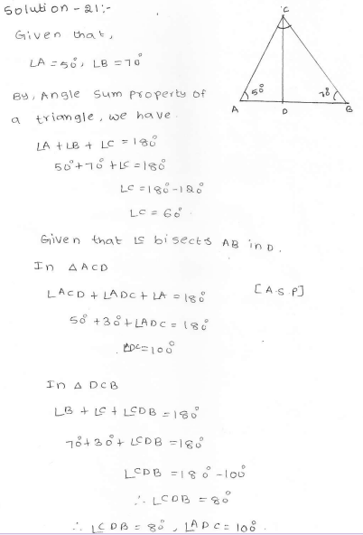 RD Sharma Class 7 Solutions 15.Properties of triangles Ex-15.2 Q 21