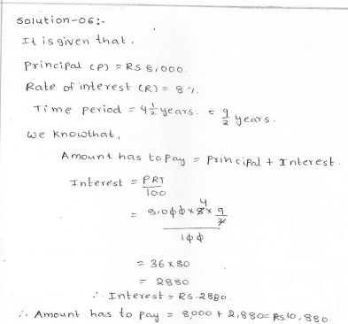 Rd sharma class 7 solutions 13.Simple interest Exercise-13.1 Q 6