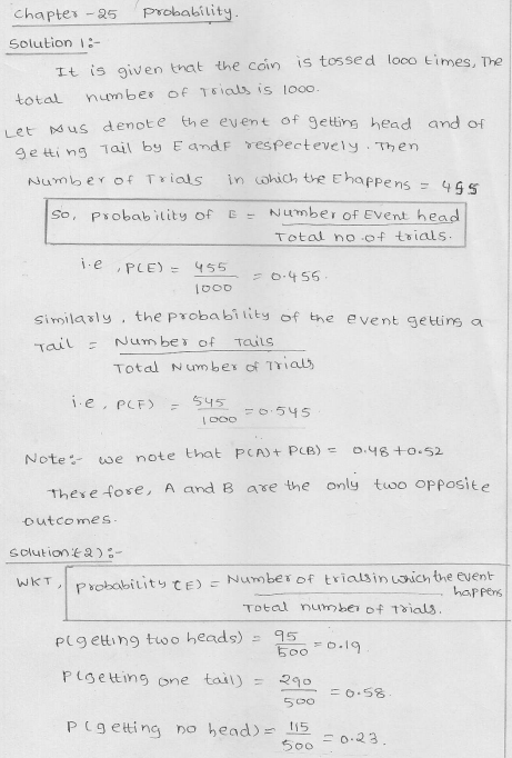 RD Sharma Class 9 solutions Chapter 25 Probability
