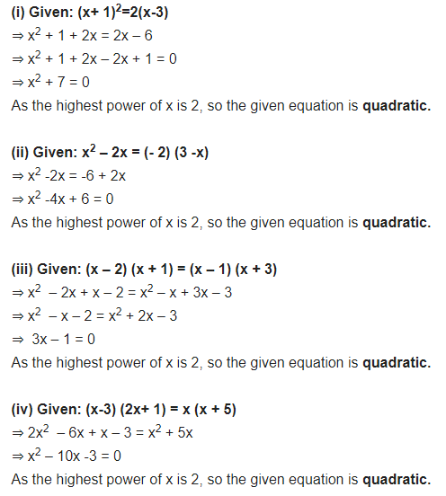 NCERT Solutions for Class 10 Maths Chapter 4 Quadratic Equations Ex 4.1 Free PDF Download Q1