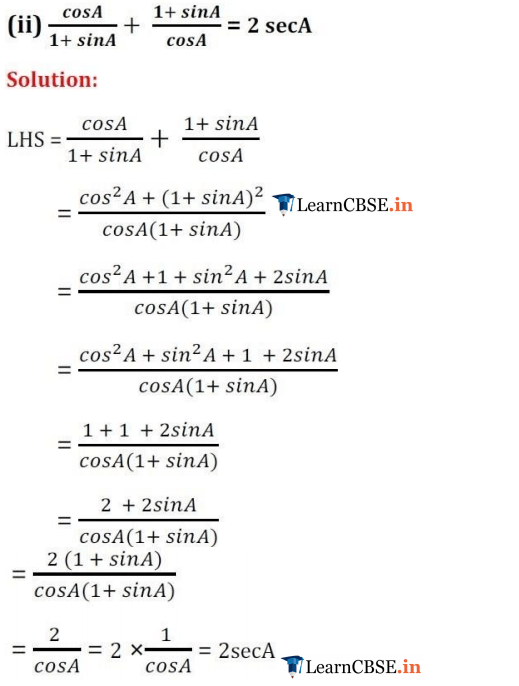 10 Maths Chapter 8 Exercise 8.4 Trigonometric Identities proofs