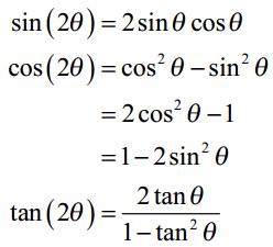 Trig Cheat Sheet Double Angle Formulas