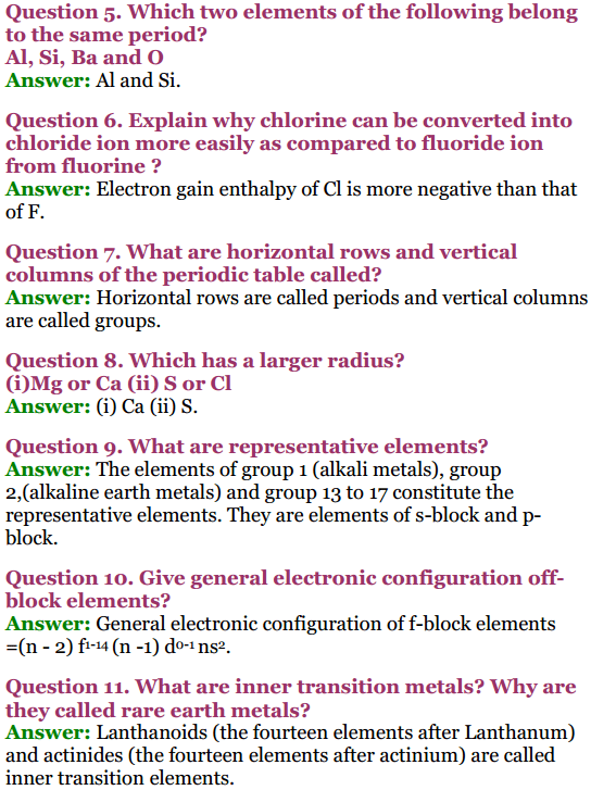 Chemistry Important Questions Class 9 2019