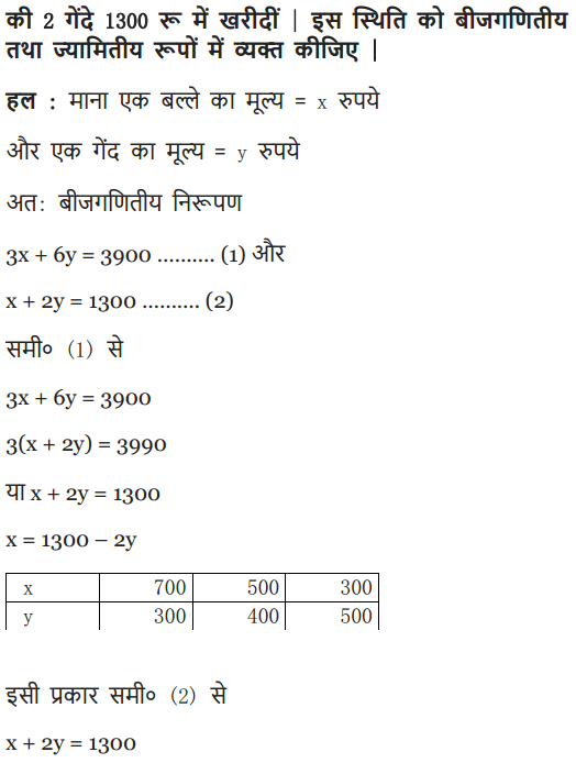 NCERT Solutions class 10 maths chapter 3 exercise 3.1 in Hindi