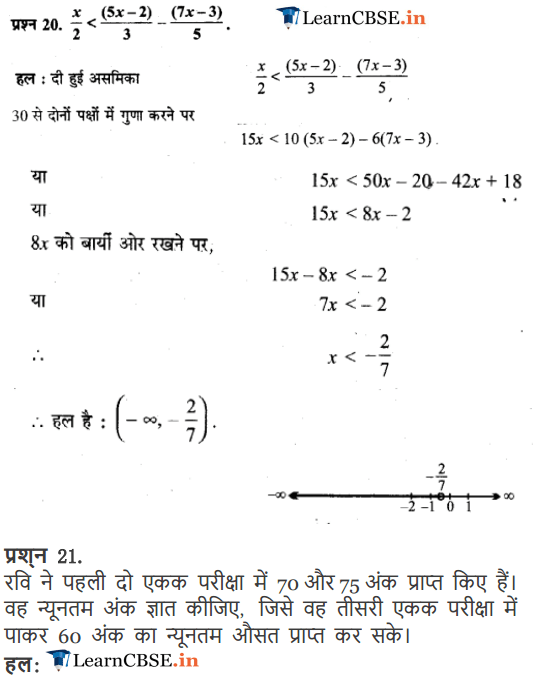 Class 11 Maths Chapter 6 Exercise 6.1 Linear Inequalities solutions in Hindi