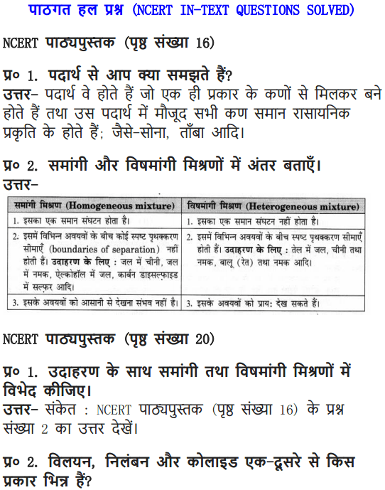 NCERT Solutions for Class 9 Science Chapter 2 Is Matter Around Us Pure Hindi Medium 1