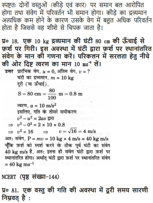 NCERT Solutions for Class 9 Science Chapter 9 Force and Laws of Motion Hindi Medium 18