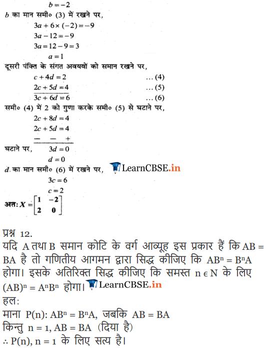 Class 12 Ganit path 3 vividh prashnavali ke hal hindi me