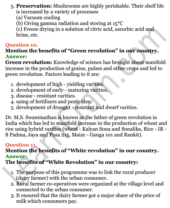 Selina Concise Biology Class 8 ICSE Solutions Chapter 9 Food Production 11