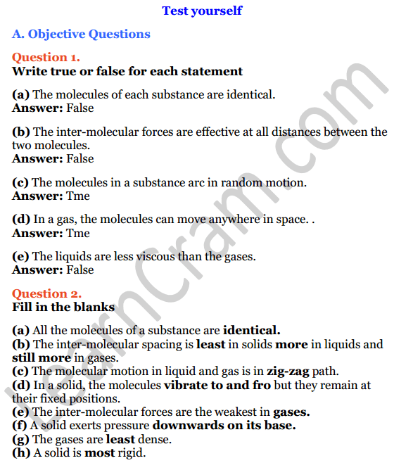 Selina Concise Physics Class 6 ICSE Solutions Chapter 1 Matter 1
