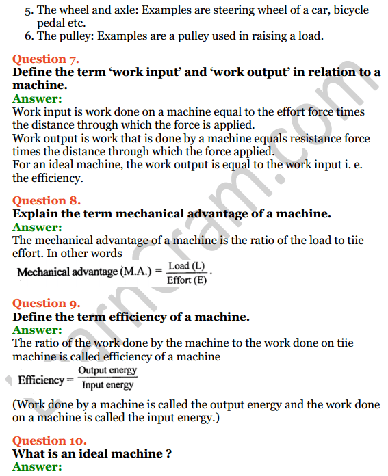 Selina Concise Physics Class 6 ICSE Solutions Chapter 4 Simple Machines 5