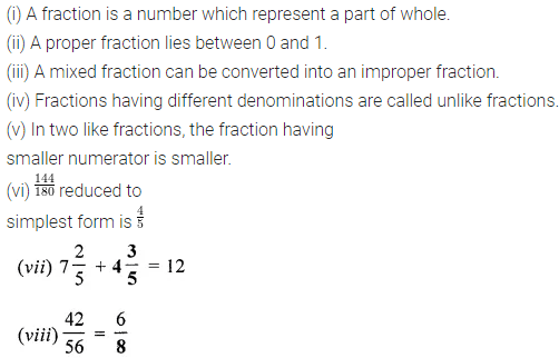 ML Aggarwal Class 6 Solutions for ICSE Maths Chapter 6 Fractions Objective Type Questions 1