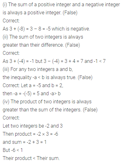 ML Aggarwal Class 7 Solutions for ICSE Maths Chapter 1 Integers Objective Type Questions 6