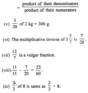 ML Aggarwal Class 7 Solutions for ICSE Maths Chapter 2 Fractions and Decimals Objective Type Questions 5