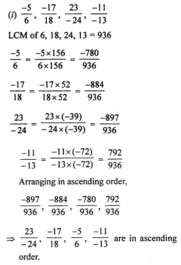 ML Aggarwal Class 7 Solutions for ICSE Maths Chapter 3 Rational Numbers Check Your Progress 9