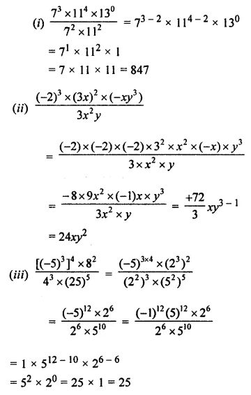 ML Aggarwal Class 7 Solutions for ICSE Maths Chapter 4 Exponents and Powers Check Your Progress 3
